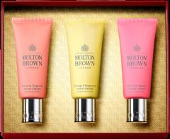 Molton Brown Hand Care Collection Set = Orange & Bergamot Hand Cream 40 ml + Delicious Rhubarb & Rose Hand Cream 40 ml + Heavenly Gingerlily Hand Cream 40 ml